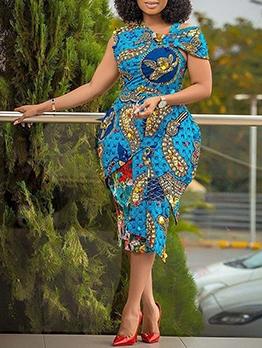 Tribal Printed One Short Sleeve Ladies Dress