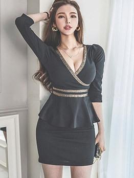 Sexy V Neck Long Sleeve Dress Club