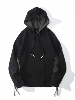Fashion Pure Color Pullover Black Hoodies