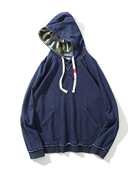 Pockets Loose Long Sleeve Cotton Hoodies For Men