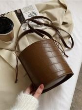 Stone Pattern Drawstring Bucket Bag