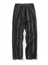 Colorblock Mid Waist Loose Straight Mens Jeans
