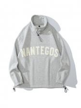Stand Neck Letter Print Loose Sweatshirt Fleece