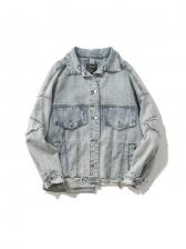 Turndown Neck Patch Denim Jackets Vintage