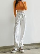 Pure Color Zipper Hem High Waisted Pants