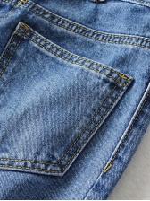 Irregular Pocket High Waist Wide Leg Jeans