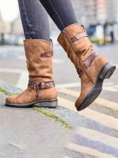 Vintage Buckle Design Mid-Calf Boots Online