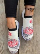 Versatile Flower Printed Female Slip On Shoes