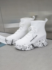 Versatile Letter Printed Female Ankle Boots