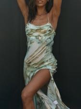 Low-cut High Slit Camisole Summer Maxi Dresses