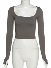 Square Neck Slim Solid Long Sleeve T-Shirt