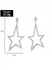 Fashion Personality Full Rhinestone Geometry Earrings