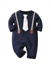 Gentle Tie Neck Patchwork Baby Boy Sleepsuits
