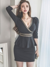 Sexy V Neck Long Sleeve Dress Club