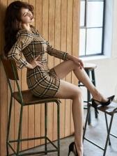 New Plaid V Neck Long Sleeve Dress
