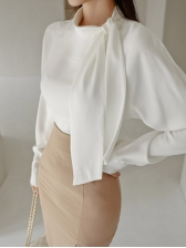 New White Blouse With High Waist Skirt