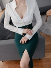 Sexy V Neck Two Piece Skirt Sets