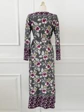 Vintage Flower Print Long Sleeve Maxi Dress