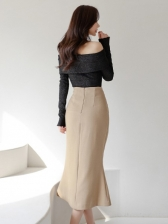 Boat Neck Top With High Waist Skirt