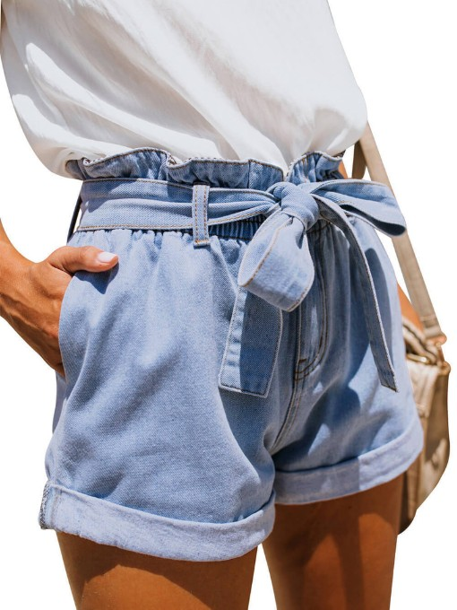 Casual Light Blue Paperbag Waist Shorts Pants