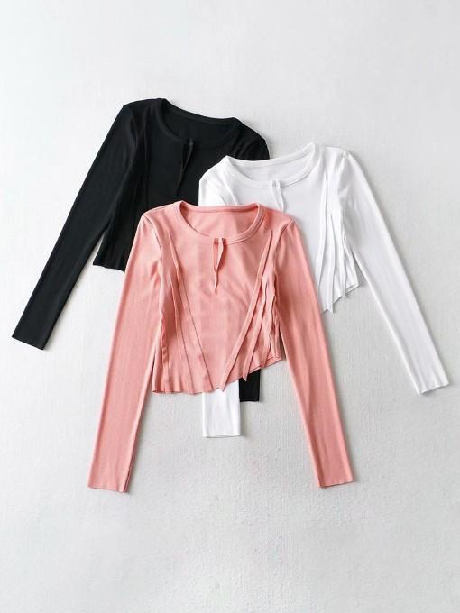 Chic Irregular Long Sleeve T Shirts Women