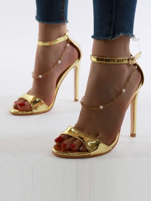 Chain Decor Round Toe Ladies Heel Sandal