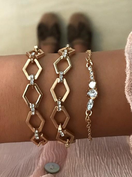 Irregular Geometry Rhinestone Easy Match Bracelet