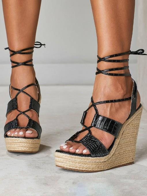 New Bandage Black Wedge Sandals