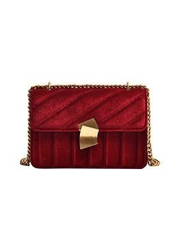 Trendy Pure Color Velvet Chain Shoulder Bag