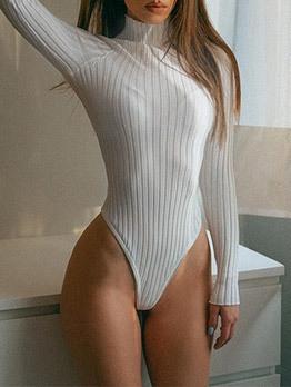 Vintage Style Long Sleeve Turtleneck Bodysuit
