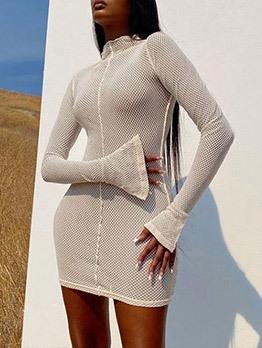 Mock Neck Flare Sleeve Bodycon Mini Dress