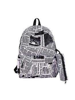 Newspaper Print Large Capacity Backpacks For Women