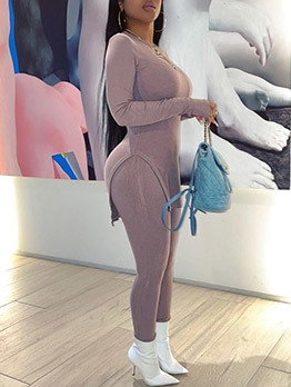 Pure Color Long T-Shirt With High Waist Leggings