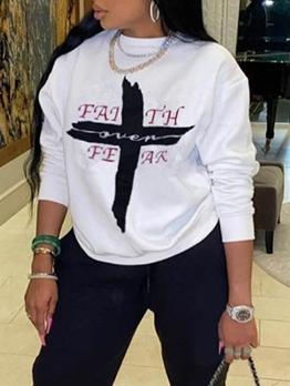 Cross Print White Long Sleeve Sweatshirt Women