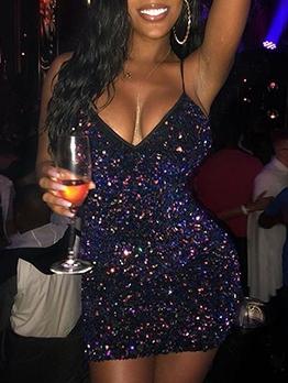 Sexy Camisole Nightclub Sequined Bodycon Dresses