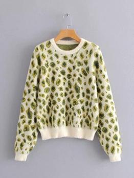 Fashion Leopard Print Crew Neck Sweater