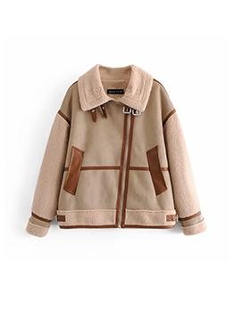 Buckle Decor Patchwork Turndown Collar Jackets For Women