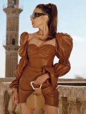 Vintage Style Square Neck Pu Bodycon Dress