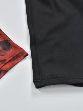 Stand Neck Tie Wrap Colorblock Flower Jumpsuit
