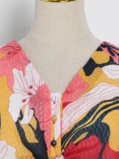 Lantern Sleeve Floral Printing Ladies Dress