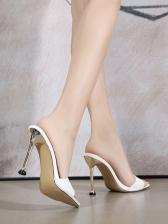 Pointed Toe Snake Skin Printed Heeled Womens Slippers