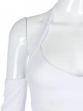 V Neck Halter Off Shoulder Cropped T Shirt