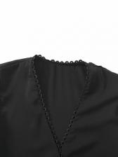 V Neck Button Up Long Sleeve Black Blouse