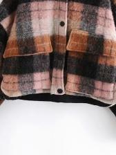 Preppy Style Color Block Plaid Winter Coats