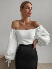 Elegant Solid Off Shoulder Lantern Long Sleeve Blouse