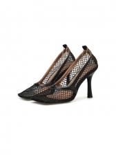 Euro Mesh Square Toe Comfortable Heels