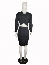 Euro Ruched Solid Crop Top And Skirt Set