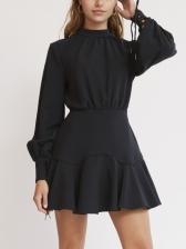 Mock Neck Black Women Long Sleeve Dress