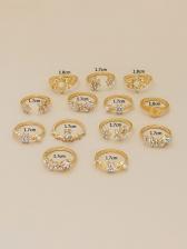 Vintage Flower Shape Rhinestone 13 Pieces Ring Set