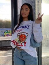 Printed Basketball Crew Neck Long Sleeve Sweatshirt